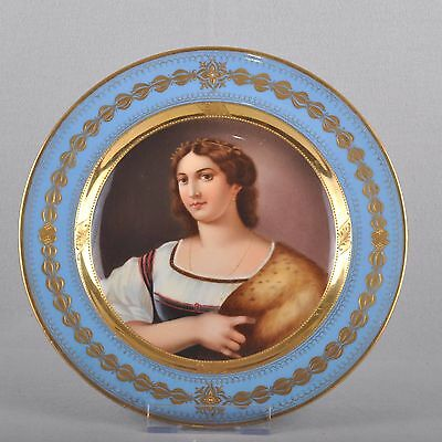 Meissen Painting plates Portrait Wall plate, fine Painting, viel Gold, 1824-50