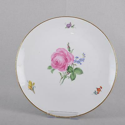Meissen red rose & forget-me-not wall plate/collection plate, 25,5 cm
