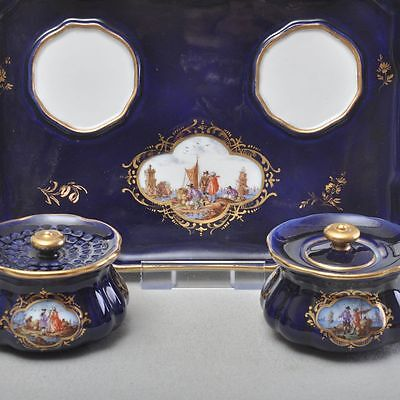 Meissen Lake brochure painting Kauffahrtei, Inkwell Writing materials set cobalt