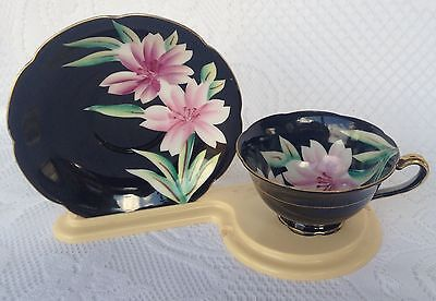 Princess China - Occupied Japan Pink flowers on black Tea Cup & Saucer (217)