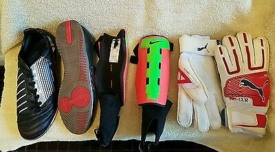 Indoor soccer/Futsal Shoes, Gloves and Shin Guards