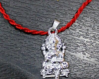 Ganesha Ganpati Ganesh Pendant Pewter Hindu Yoga Japa Yantra Necklace Red Thread
