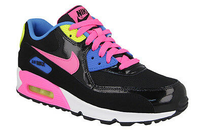 the latest a971e c8ef9 Nike Air Max 90 GS Girls Kids Junior Black   Pink Trainers Shoes - UK 4.5