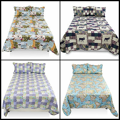 Luxurious 3pcs Quilted Bed Spread Comforter Set with Pillow Shams