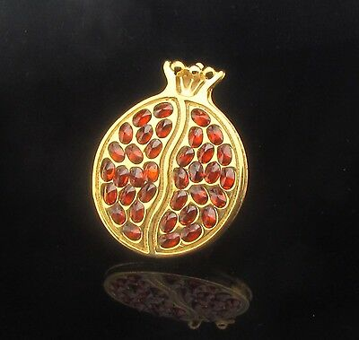 A Handmade Gold Filled Pomegranate Pendant Inlaid With Garnets