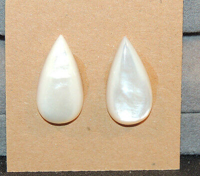 Mother of Pearl 21x11mm with 5mm dome  Cabochons Set of 2 (11063)