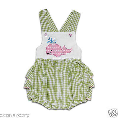 "AURORA ROYAL Green Gingham "" Whale"" Applique Baby Girl One- Piece Sunsuit."