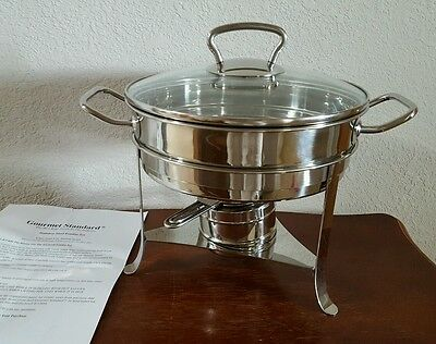 Gourmet Standard Professional Round Chafing Dish 3 Qt. 18/10 Stainless USED ONCE