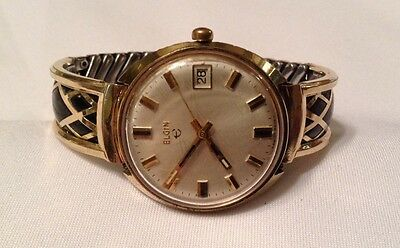Very Rare! Vintage Gent's Elgin Hand Wind 18k Gf Band Outer- wristwatch