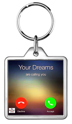 Keyring Key Ring Mobile Smart Phone Fone Screen Call Calling Dreams Quotes Gift