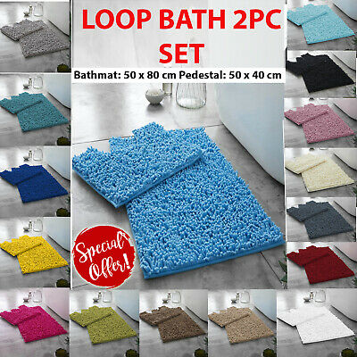 Brand New Luxury 2 Piece Non Slip Bath & Pedestal Mat Toilet Set Rug Chunky Loop