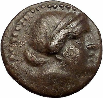 KYME in AEOLIS Authentic Ancient 250BC Greek Coin w AMAZON HORSE VASE i57276