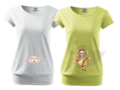 Maternity Pregnancy Funny T-shirt Top Baby Shower Peek a boo Gift 2 Patterns