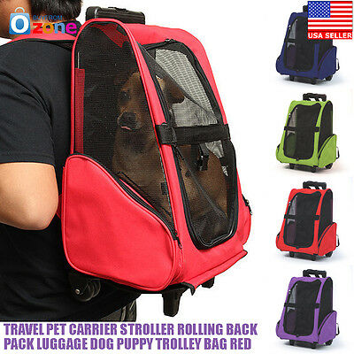 Travel Pet Carrier Stroller Rolling Back Pack Luggage Dog Puppy Trolley Bag Red