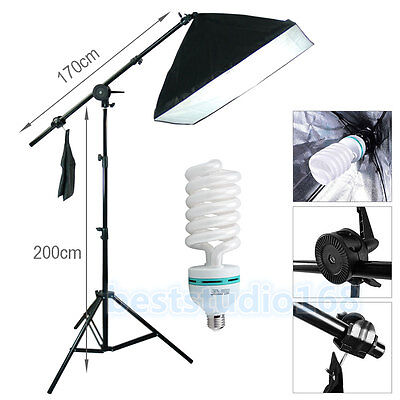 Photog Studio Softbox 135W Boom Arm Soft Box Continuous Lighting Light Stand Kit