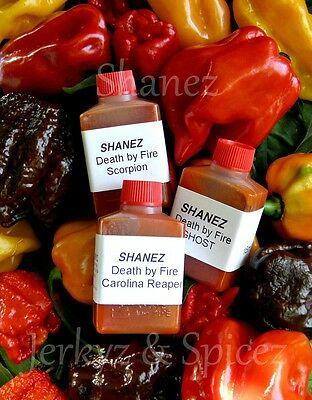 Carolina Reaper,Ghost,Scorpion Sale! X3~15ml Shanez 'DBF'(Hot Sauce)Chilli