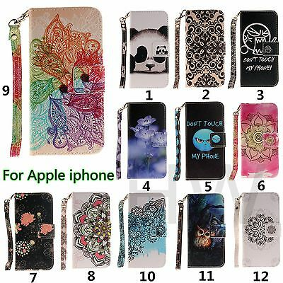 Various Patterns Wallet card Flip PU Leather Case Cover For iphone 5S 6 6S Plus