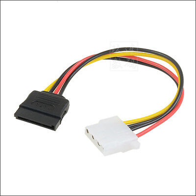 Female 15Pin SATA Power Connector to Molex 4 Pin Female Adapter Cable 20cm