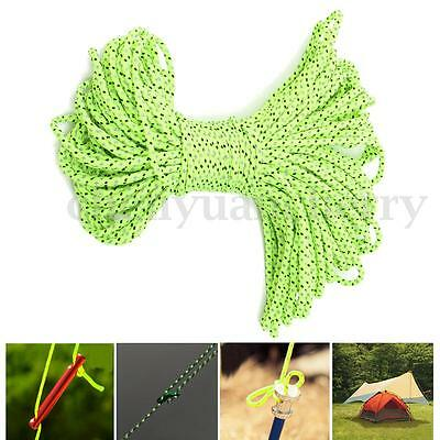 20m*3mm Reflective Guyline Tent Rope Guy Line Camping Cord Paracord Cable Green