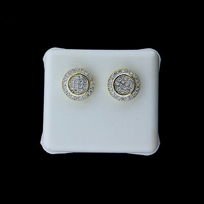 Mens XL Round Iced Out Micro Pave Cz 18mm Studs Hip Hop 14k Gold Plated Earrings
