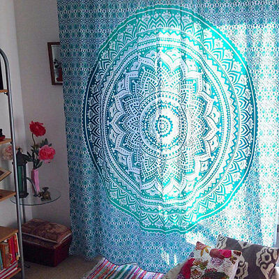 Sea Green Multi Ombre Tapestry, Indian Mandala Bedding Throw