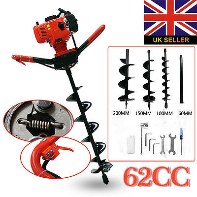 New 62cc Petrol Earth Auger Digger 2HP Post Hole Borer Ground Drill & 3 Bits
