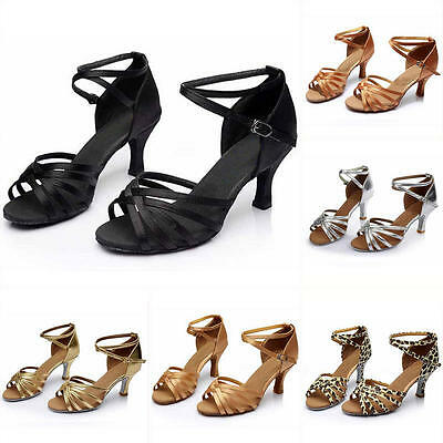 Women's Ballroom Latin Tango Dance Shoes Middle High Heeled Salsa Shoes 5cm/7cm