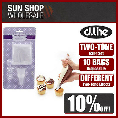 100% Genuine! D.LINE Sweet Creations Two-Tone Disposable Icing Set 10 Bags!