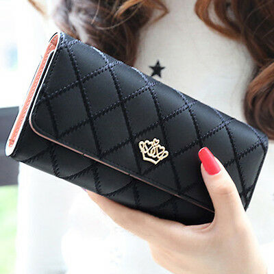 Women Crown Clutch Long Purse Faux Leather Wallet Card Holder Handbag Superior