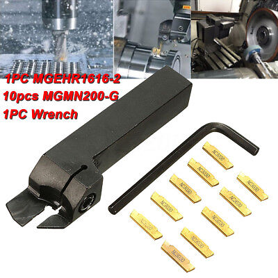 10X MGMN200 Carbide Grooving Inserts MGEHR1616-2 16mm Lathe Turning Tool Holder