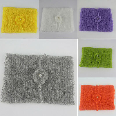 Newborn Soft MOHAIR Wrap Swaddle Cheesecloth Headband Set Photography Prop