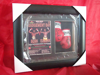 Nigel Benn vs Chris Eubank Mini Signed Framed Boxing Gloves Judgement Day