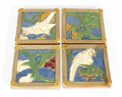 Grueby Pottery 4 tiles matte green glossy white blue flowers birds Arts & Crafts