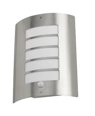 Avon Outdoor Wall Light Stainless Steel With Pir And Opaque Synthetic Diffuser