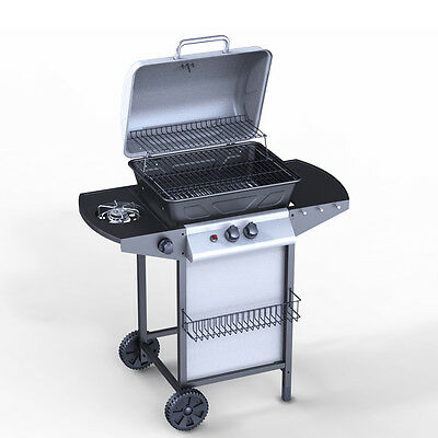 2 Burner BBQ Gas Grill Stainless Steel Barbecue + 1 Side Outdoor Patio Silver UK