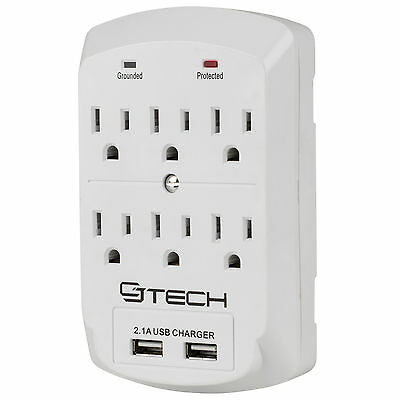 CJ Tech 6 Outlet Wall Tap Surge Protector with Dual 2.1A USB