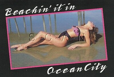 Original Semi Nude Pinup PC- Ocean City Maryland- Lies in Water in Thong Bikini