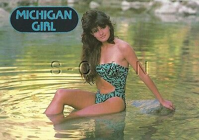 Original Semi Nude Pinup PC- Michigan Girl- Long Haired Brunette- Fancy Swimsuit