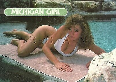 Original Semi Nude Pinup PC- Michigan Girl- Well Endowed Brunette- White Bikini