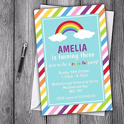 Rainbow Invitations Personalised Birthday Christening Party Invites