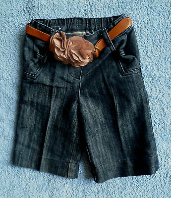 Baby clothes GIRL 3-6m NEXT dark denim trousers/belt/dusty pink material rose