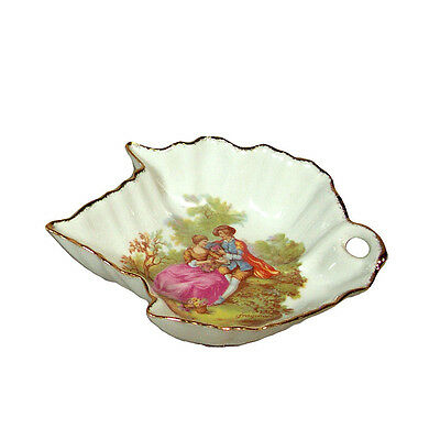 "Limoges Porcelain leaf candy dish with ""couple"" design fine china made in France"