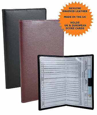 Genuine Leather Grained Golf Score Card Holder Pen Loop Made In UK RRP £22.99