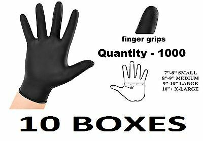 1000 EXTRA LARGE Tough Black Nitrile Tattoo Mechanic Disposable Gloves Box BULK
