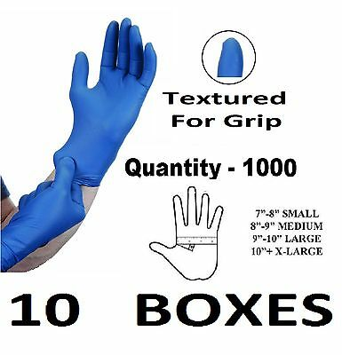 1000 x LARGE Tough Blue Nitrile STRONG Tattoo Mechanic Disposable Gloves L BULK