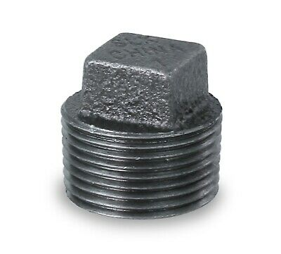 """Everflow Supplies Bmpl4000 Black Malleable Iron Plug With Square Head, 4"""""""