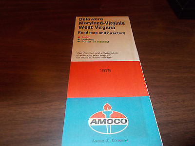1975 Amoco Delaware/Maryland/Virginia/West Virginia Vintage Road Map