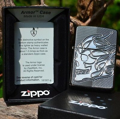 Zippo Lighter - Flaming Skull - Deep Carved Armor Case - Black Ice - # 29230