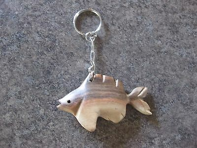 Carved Wood Fish Key Ring