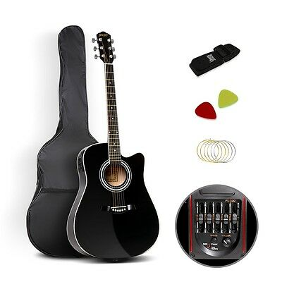 "41""  Band Electric Acoustic Guitar Full Size Black with Package Battery Pick"